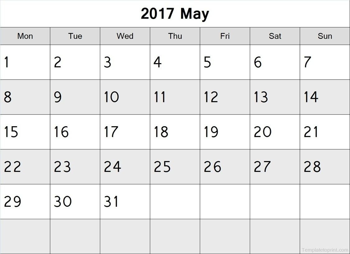 May 2017 Calendar Monday Start Pdf File Blank Calendar Printable