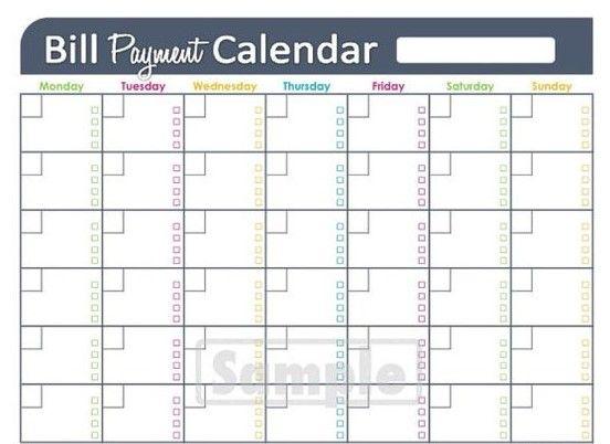 Monthly Bill Payment Calendar Excel Calendar Pinterest