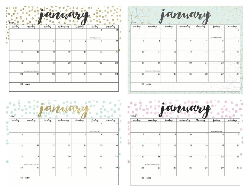 Of The Prettiest Printable 2016 Calendars