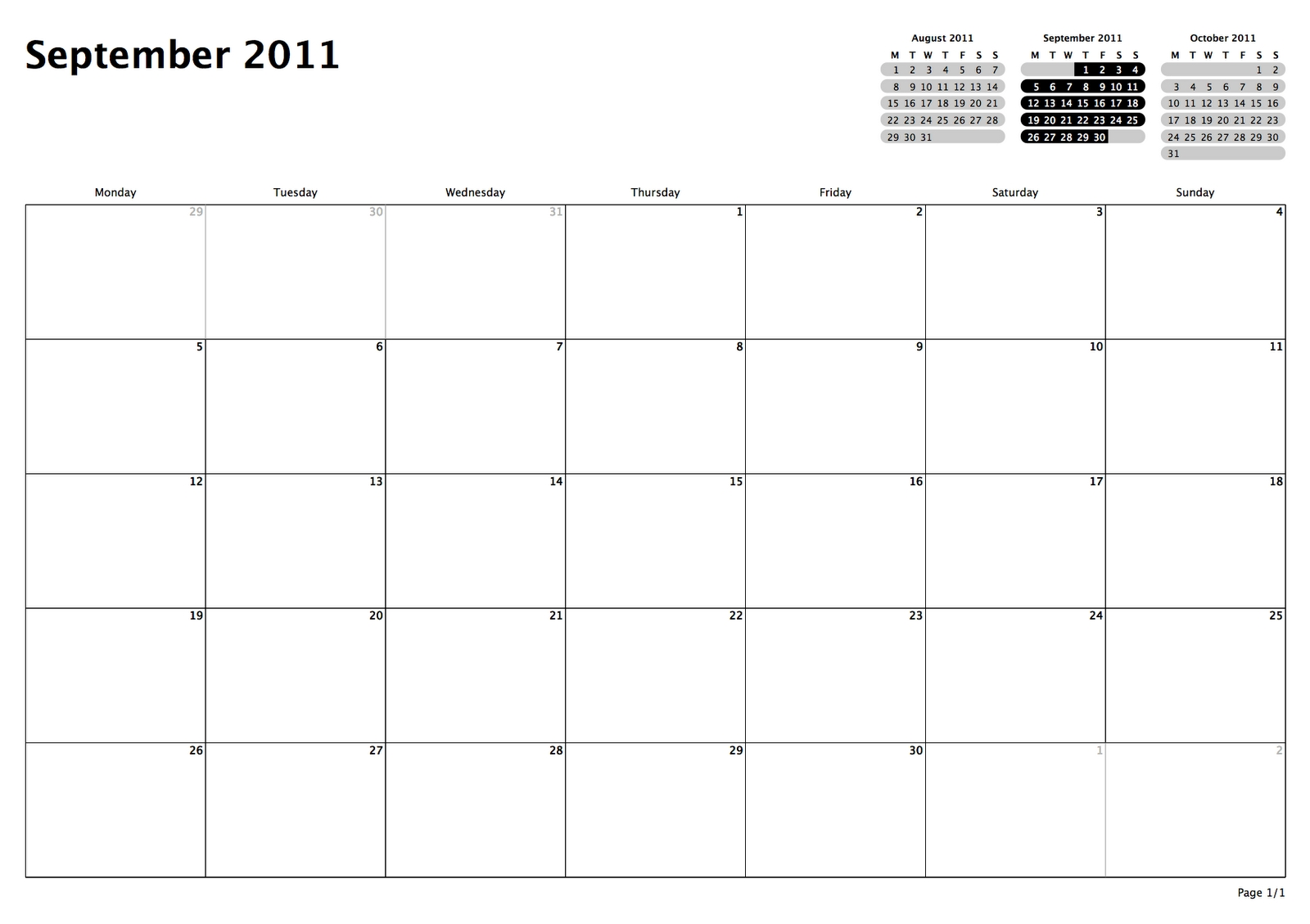 Philofaxy Monthly View Calendars