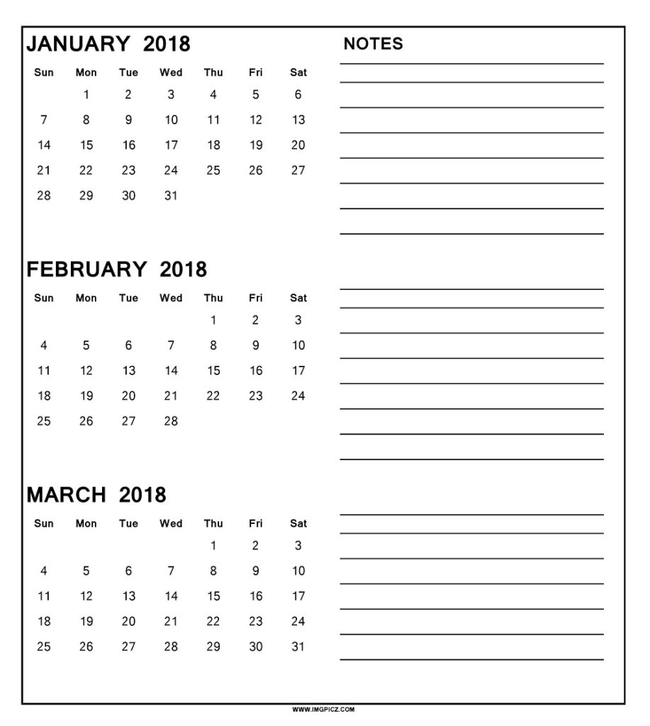 Printable 3 Month Calendar 2018 Printable Calendar Templates 2018  Xjb