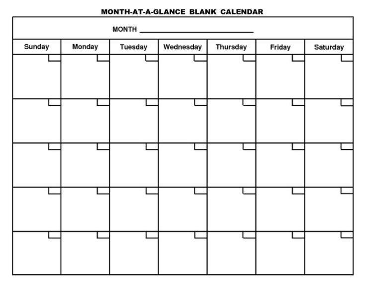 Printable Blank Calendar Template Pdf