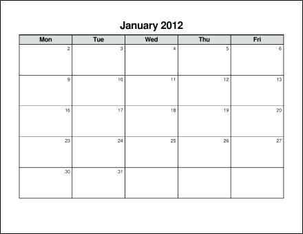 Printable Blank Monday Through Friday Printable Calendar Template