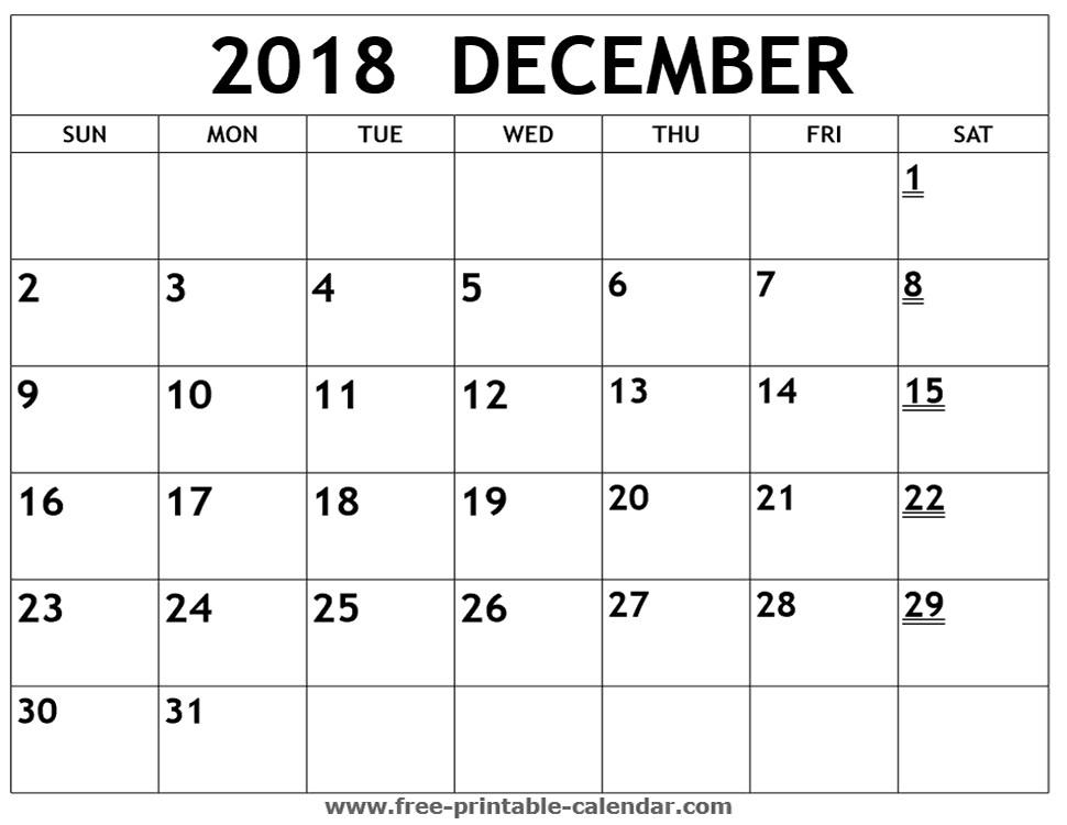 Printable Calendar December 2018 Template Business Idea
