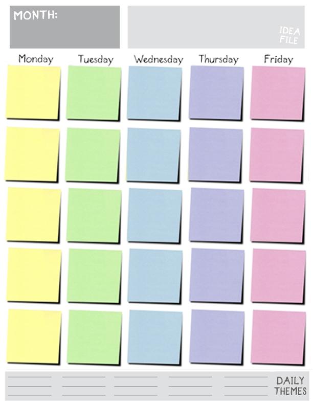 Printable Monday Friday Blank Calendar Blank Calendar Design 2018