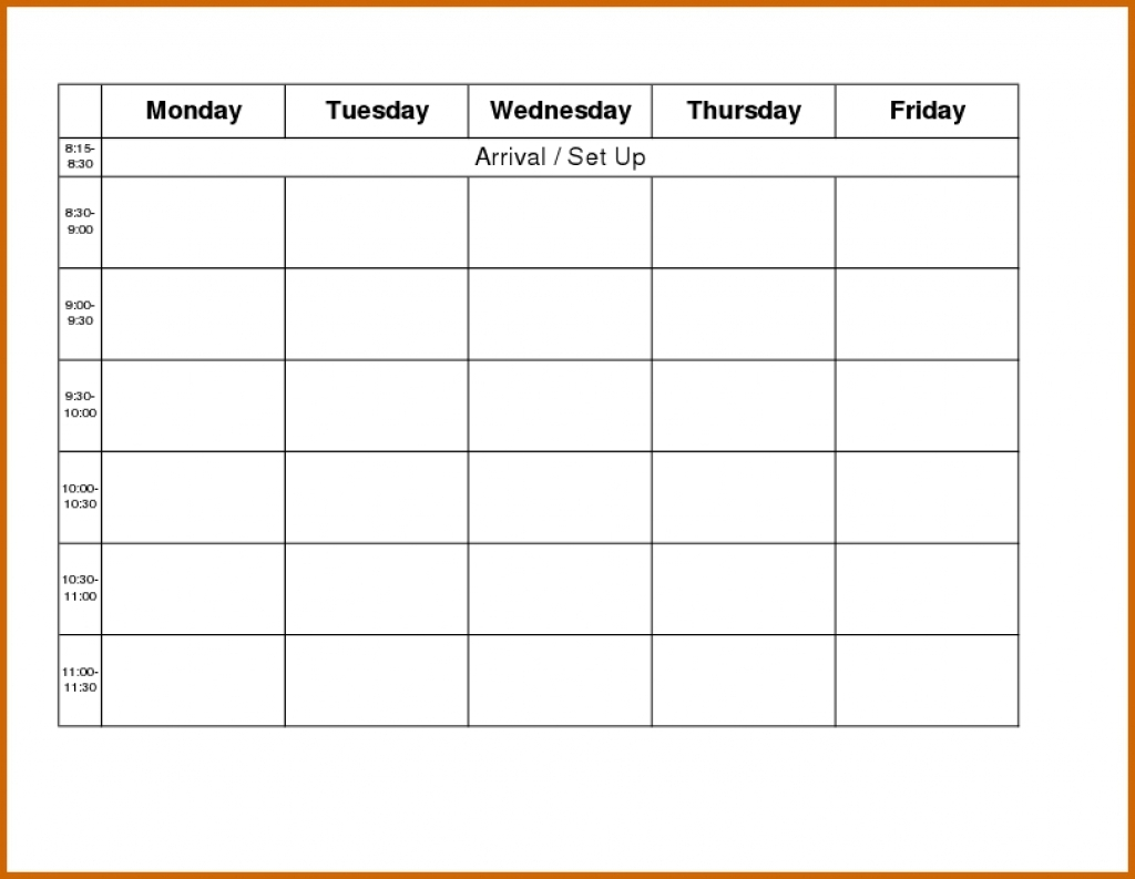 Printable Monday Through Friday Calendar Printable Calendar  Xjb