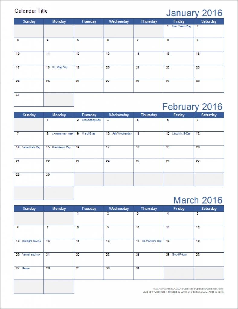 Printable Quarterly Calendars With Holidays 2018 Calendar Printable  Xjb