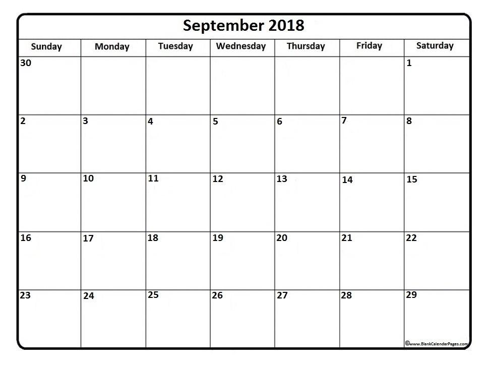 Printable September 2018 Calendar Template Business Template Ideas