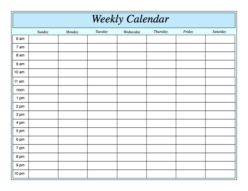 Printable Weekly Calendars With Times Ivedipreceptivco