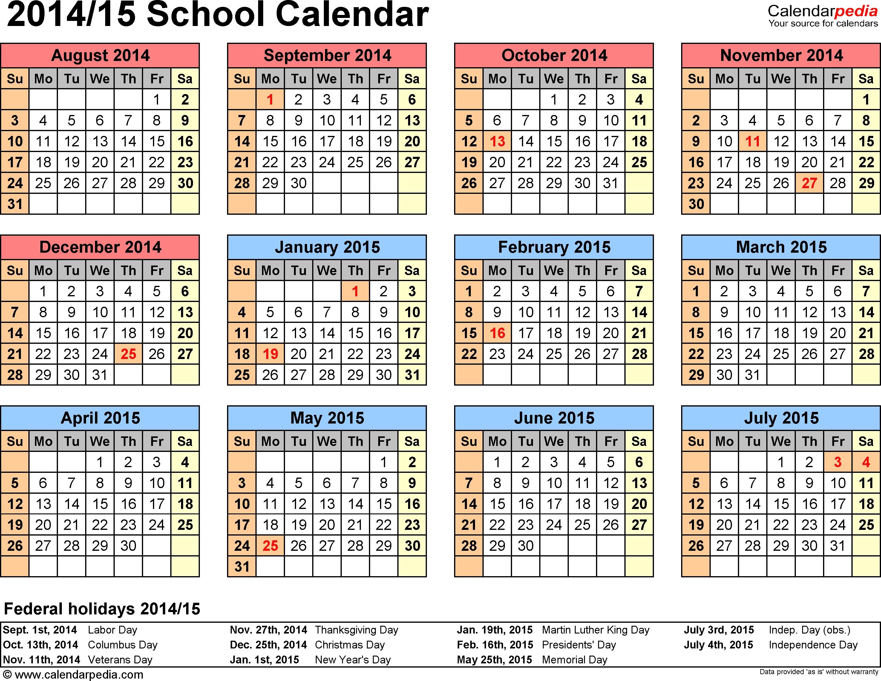 School Calendars 20142015 As Free Printable Pdf Templates