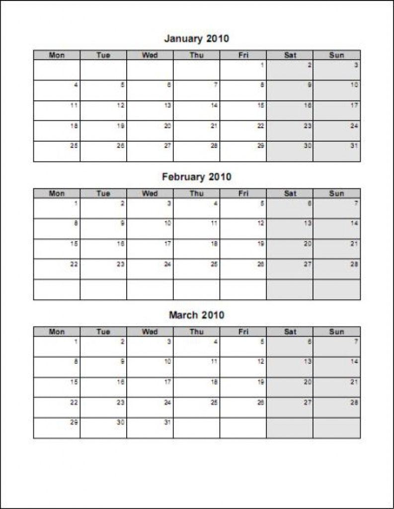 Three Month Calendar Printable 3 Template Templates Flexible  Xjb