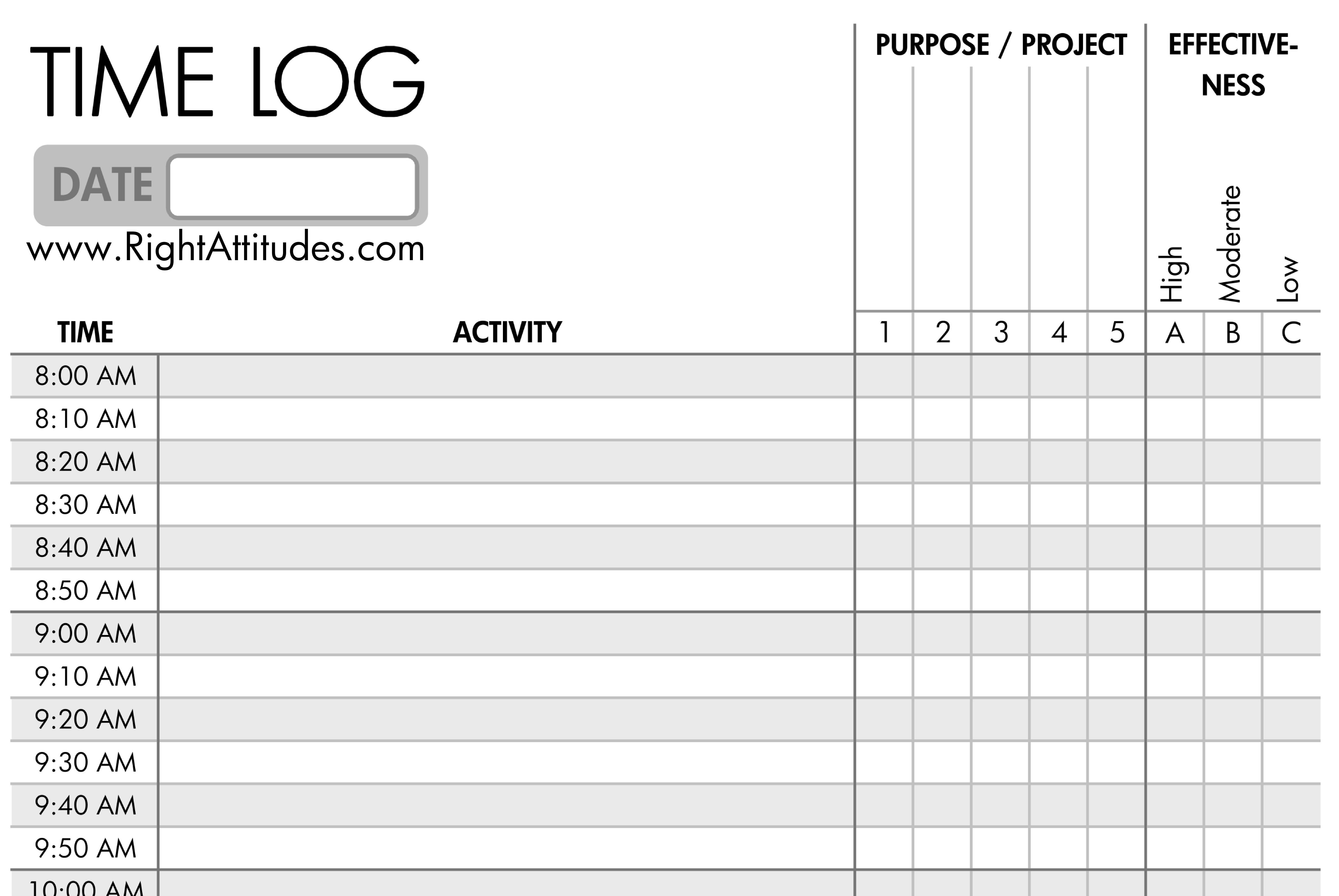 Time Management Log Template Ivedipreceptivco