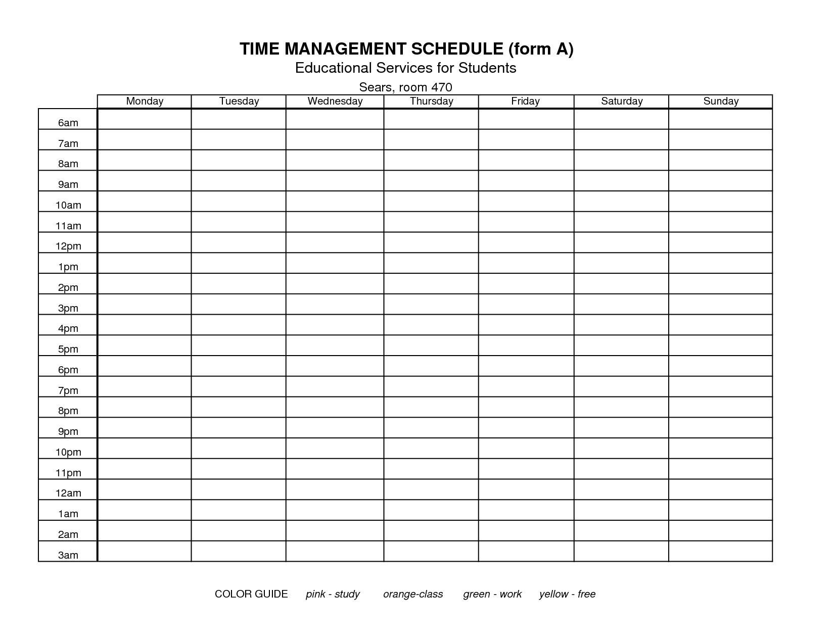 Time Management Schedule Template Cortezcolorado