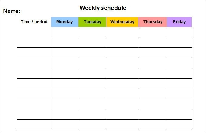 Weekly Schedule Template Monday Friday Pw9