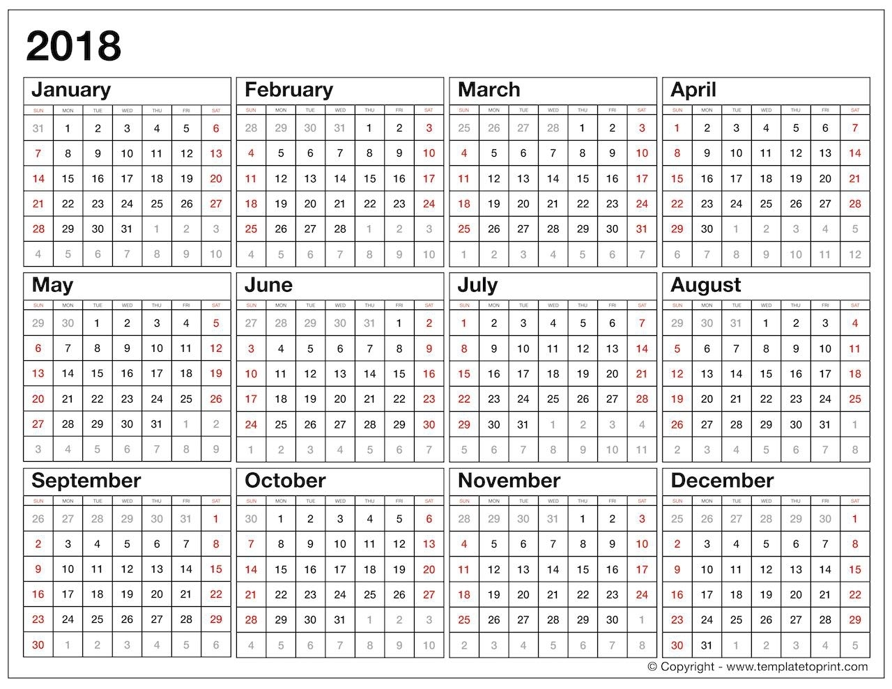 Year At A Glance Calendar 2018 Template Seven Photo