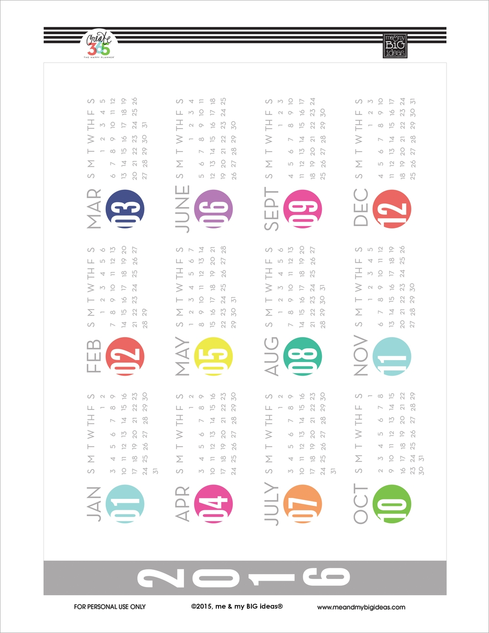 Year At A Glance Free Printables For The Happy Planner Me My