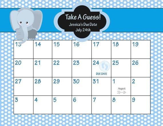 Animal Ba Shower Due Date Calendar Elepahnt Ba Shower Game