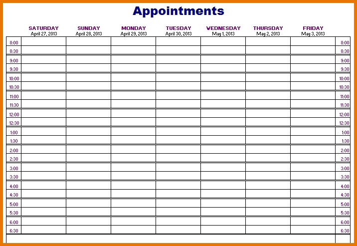 Appointment Schedule Template