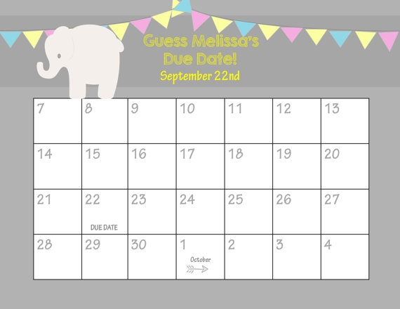 Ba Shower Calendar Template Printable Due Date Calendar Ba Shower