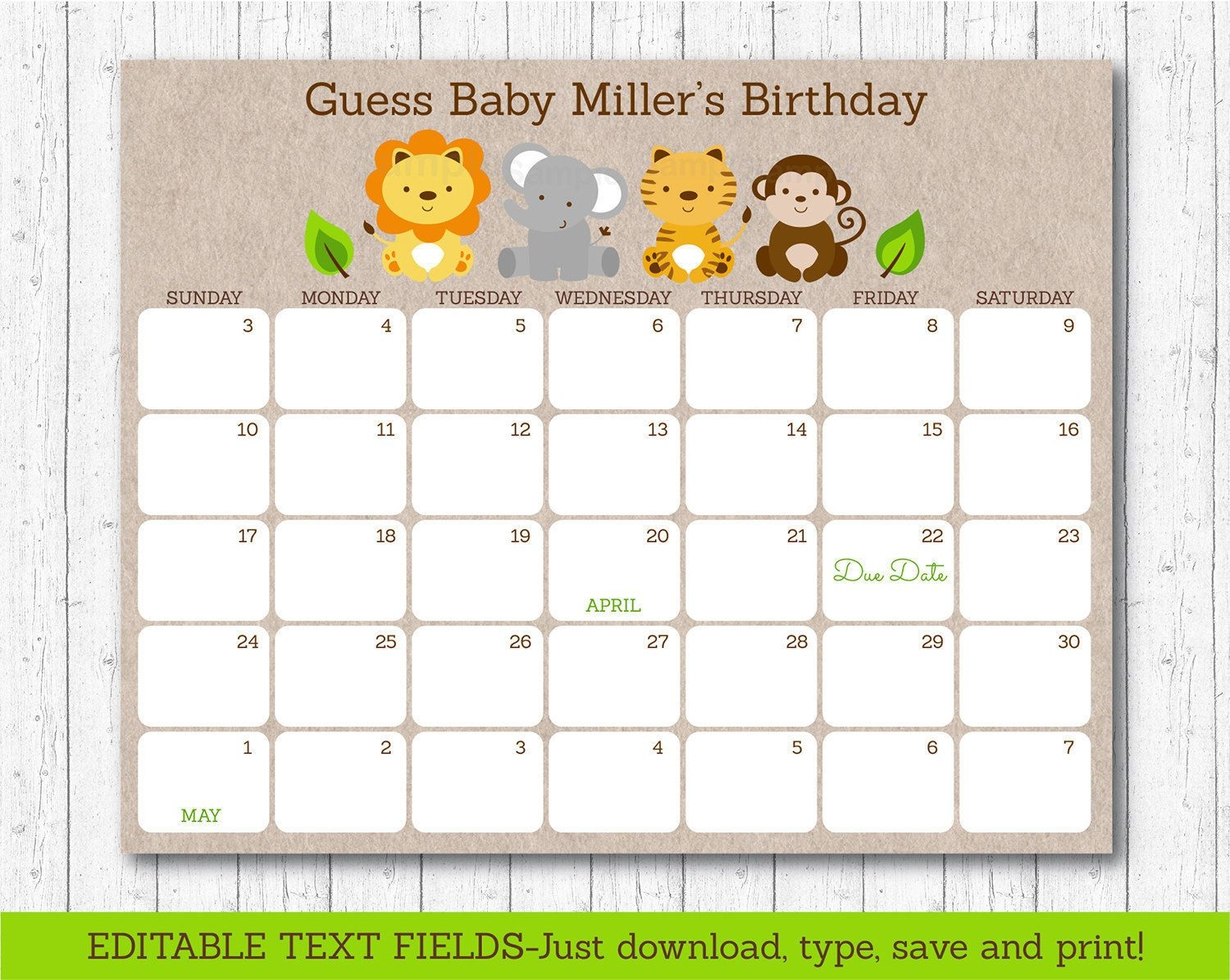 Cute Jungle Safari Animals Printable Ba Due Date Calendar