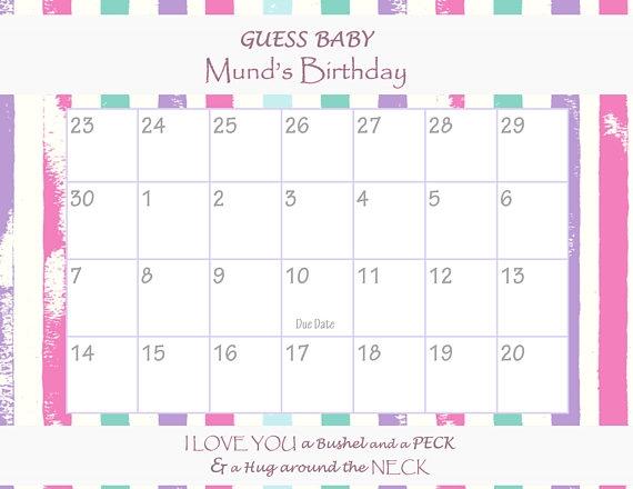 Due Date Calendar Ba Shower Game Guess The Date Ba Girl