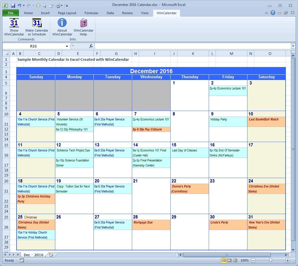 Excel Holiday Calendar Calendar Month Printable