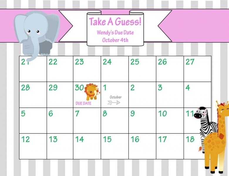 July 2016 Calendar Printable Ba Due Guessing Calendar Template Ba