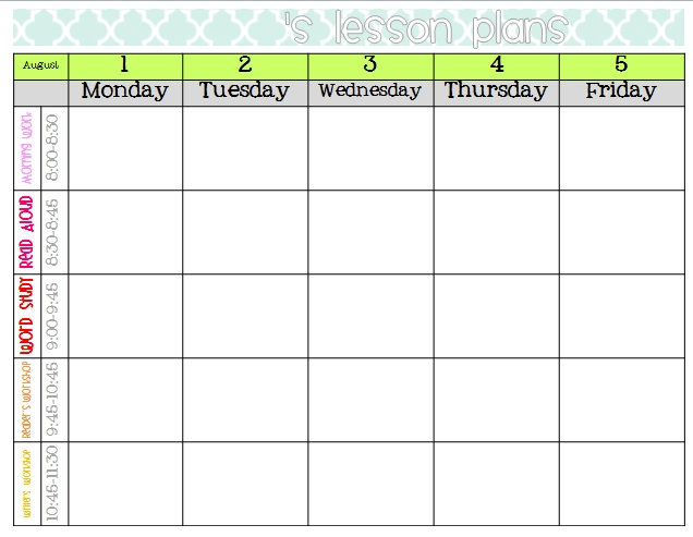 Lesson Plan Calendars Neuermonoberlinco