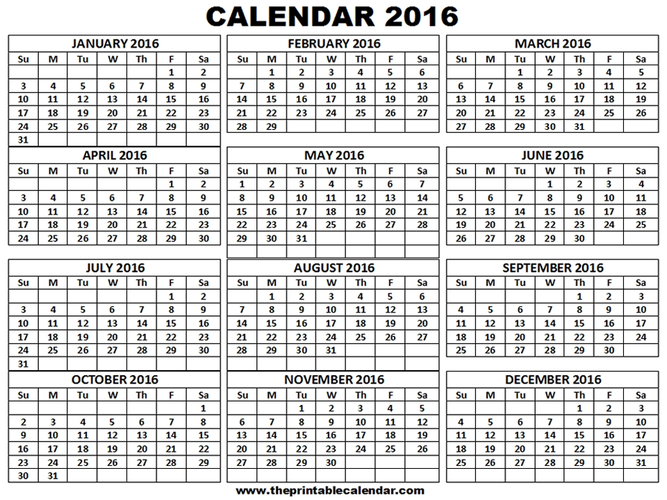 Month To Month Calendar 2016 Printable Free Month Calendars 2016