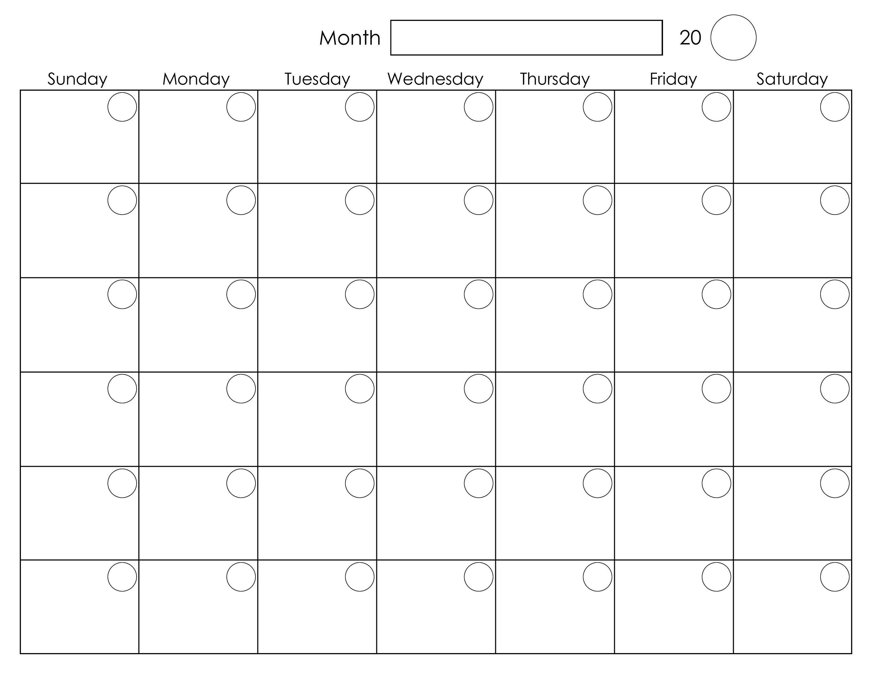 Printable Blank Monthly Calendar Activity Shelter Calendar
