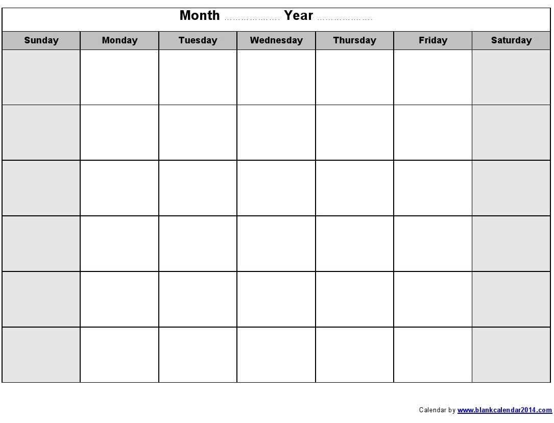Monthly Empty Calendar To Fill In