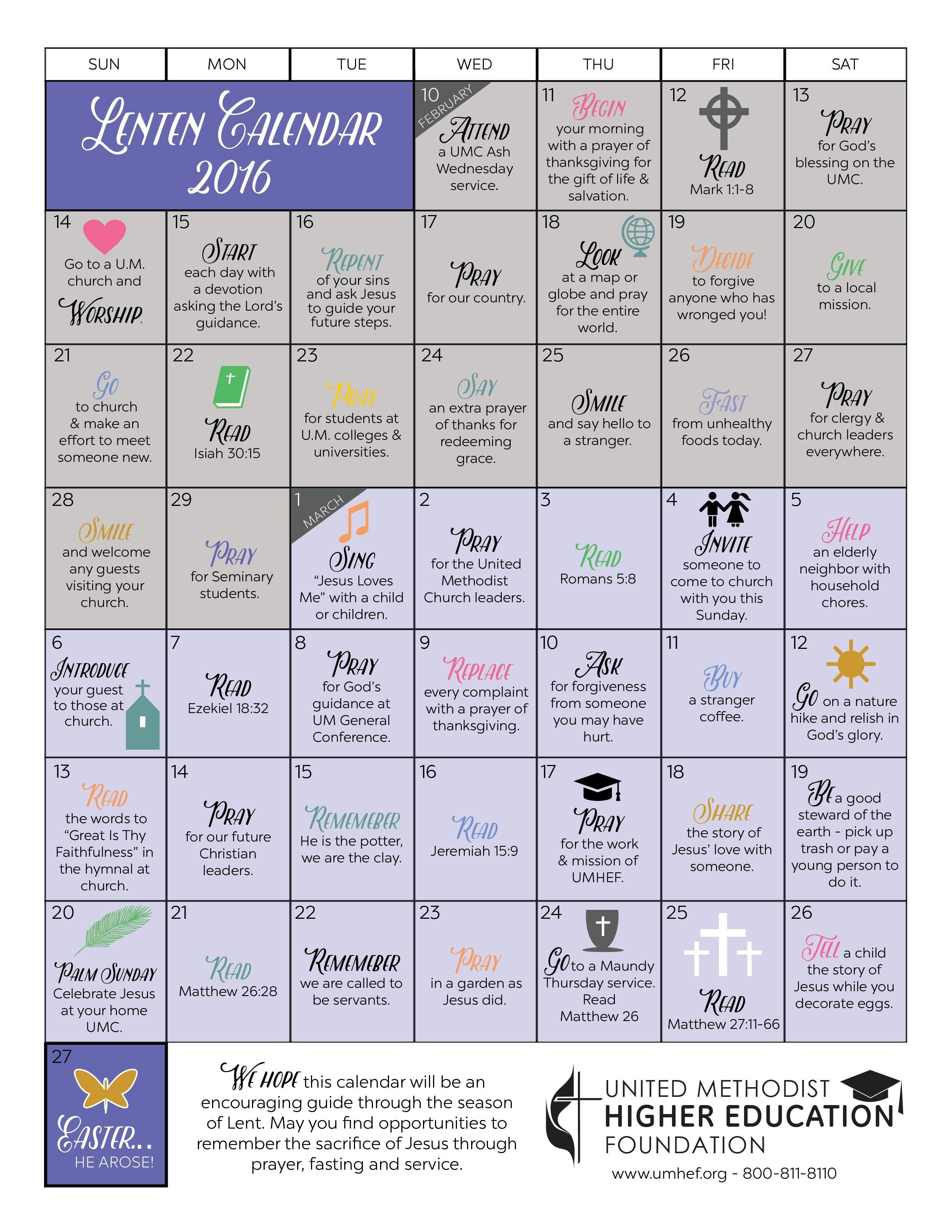 Printable Lent Calendar United Methodist Higher Education Foundation