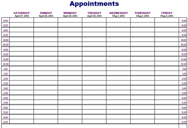 Printable Weekly Appointment Calendar Neuermonoberlinco