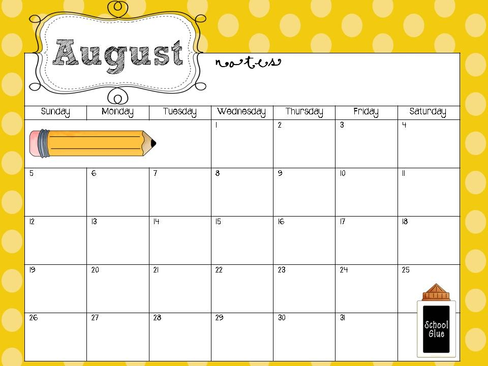 Teacher Printable Calendar Neuermonoberlinco