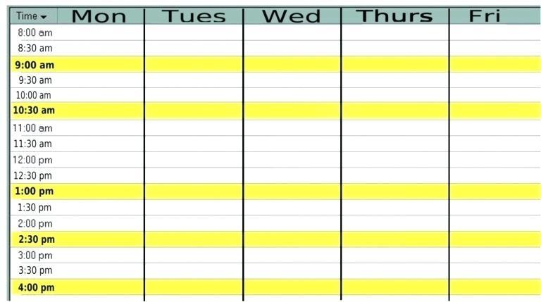 Template Monday Through Friday Calendar Template