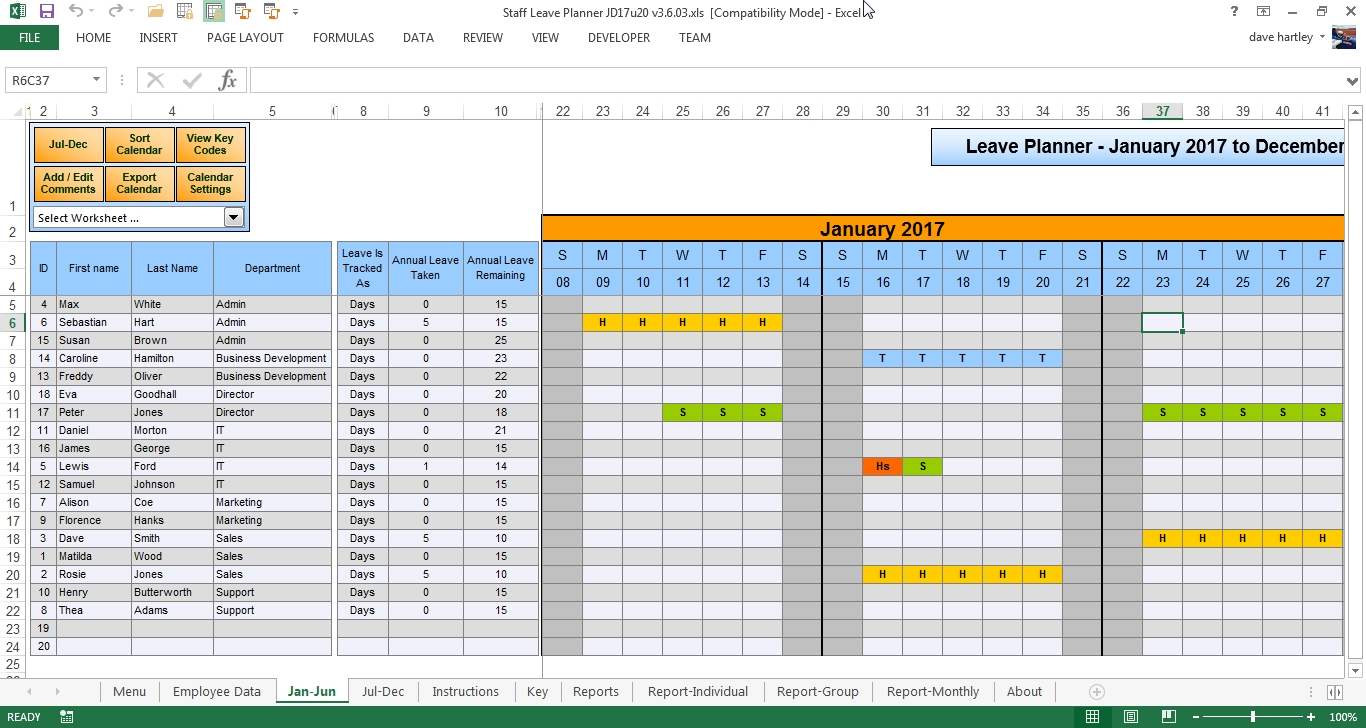 The Staff Leave Calendar A Simple Excel Planner To Manage Staff