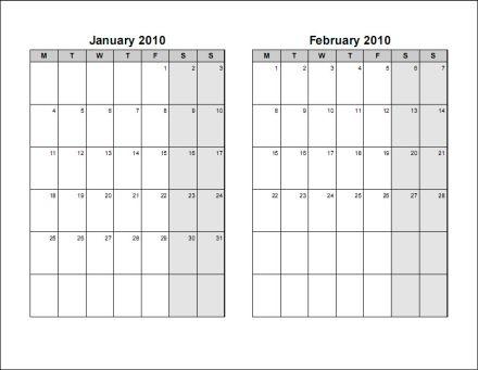 2 Month Calendar Printable Blackdgfitnessco