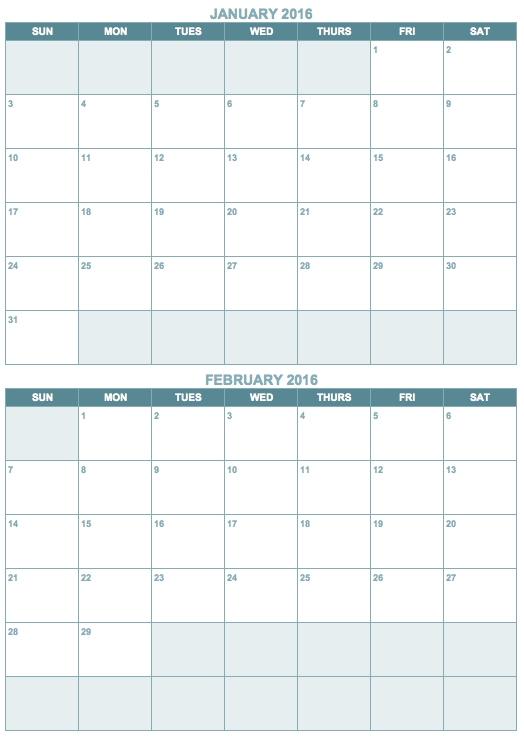 2 Month Calendar Template Blackdgfitnessco