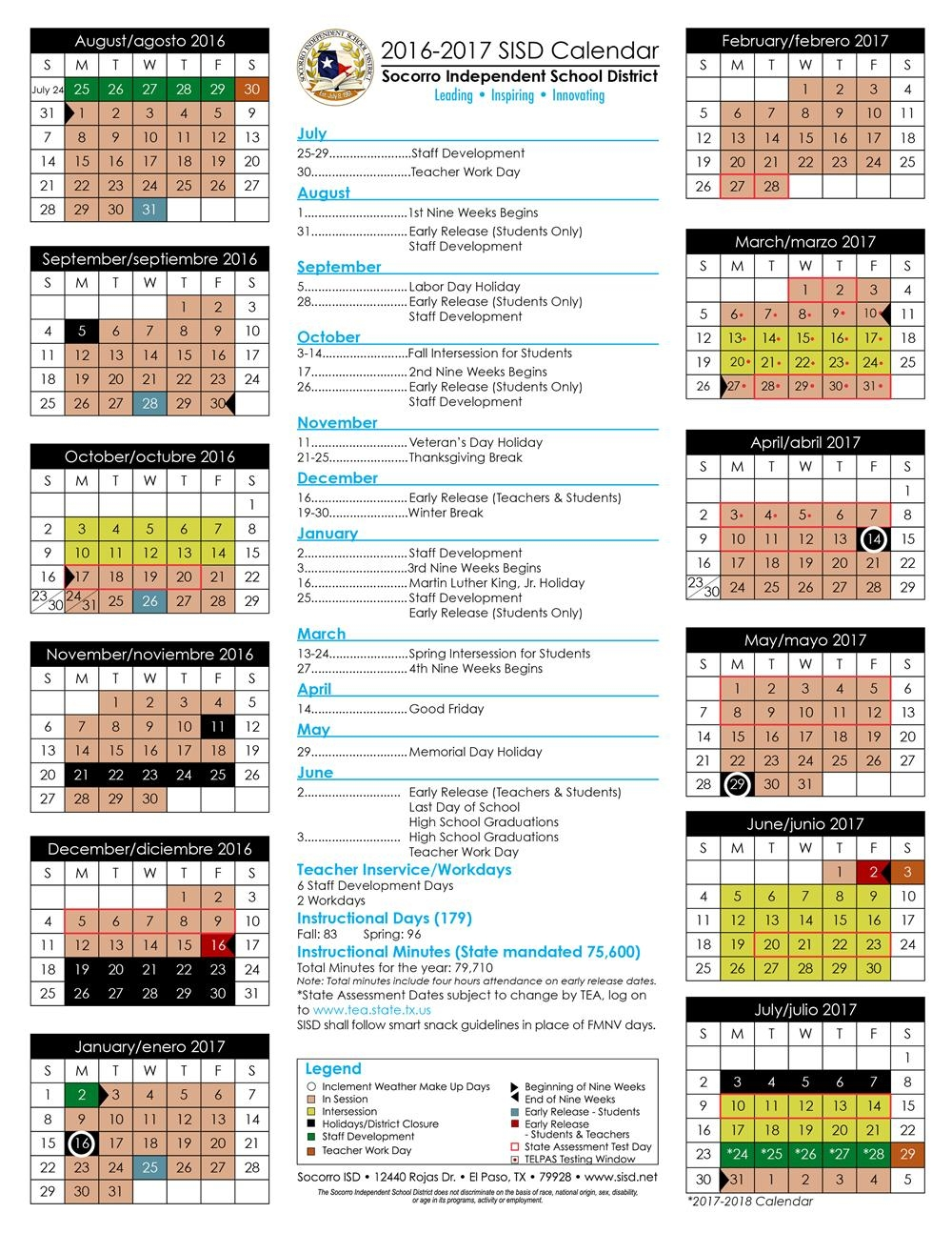 2016 17 And 2017 18 Sisd Student Calendar Approved3abry