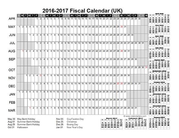 2016 Fiscal Year Calendar Uk 01 Free Printable Templates