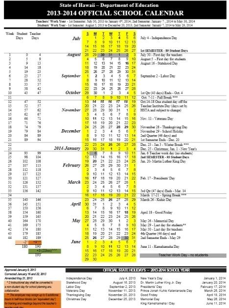 2017 And 2018 Calendar Hawaii Doe Rezofthestory