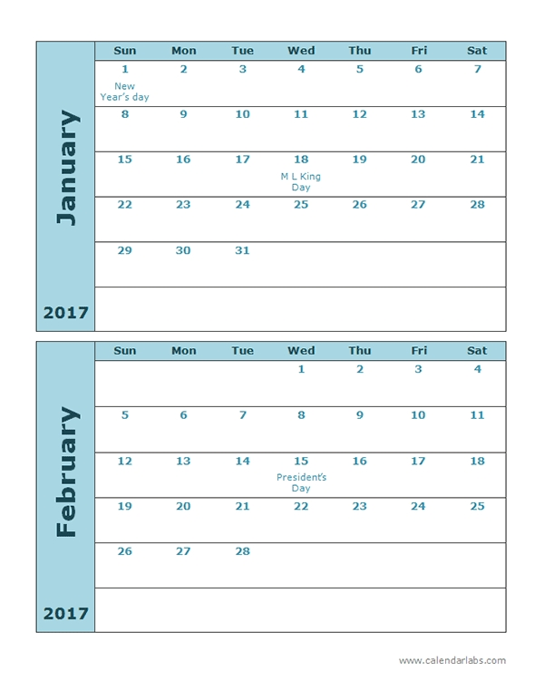 2017 Calendar Template 2 Months Per Page Free Printable Templates
