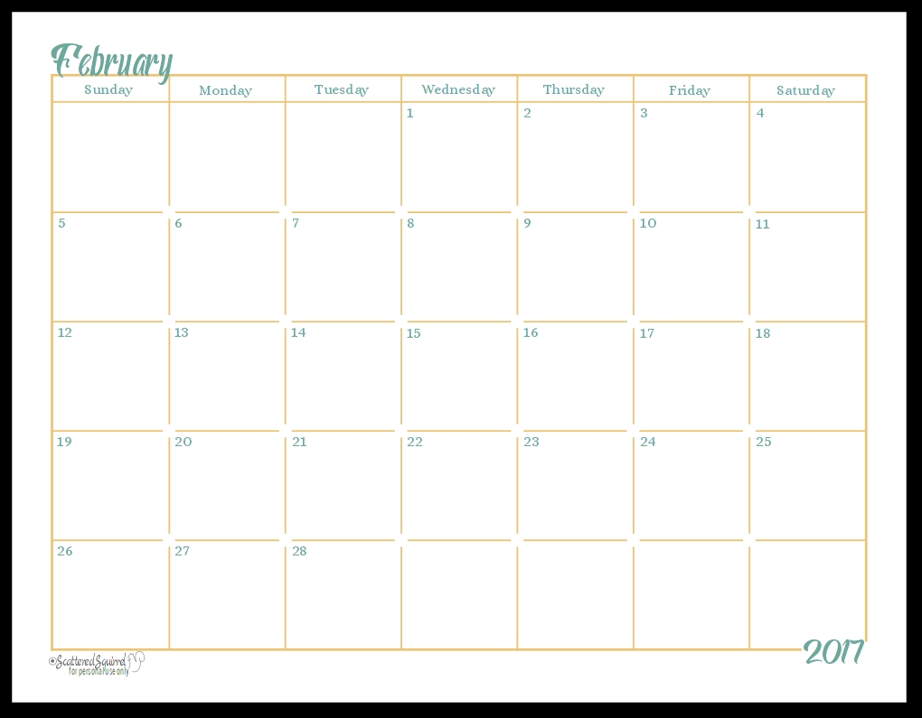 2017 Full Size Monthly Calendar Printables Are Here