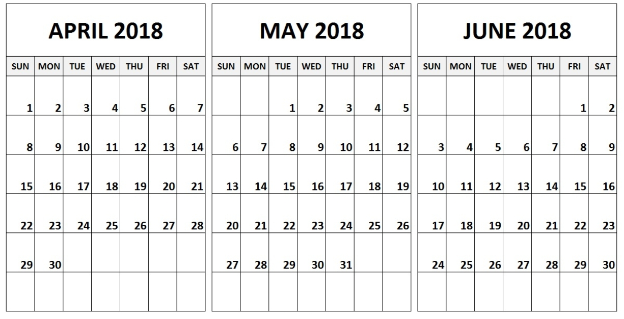 2018 April May June Calendar 2018 Printable Calendars