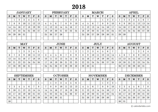 2018 Blank Yearly Calendar Landscape Free Printable Templates
