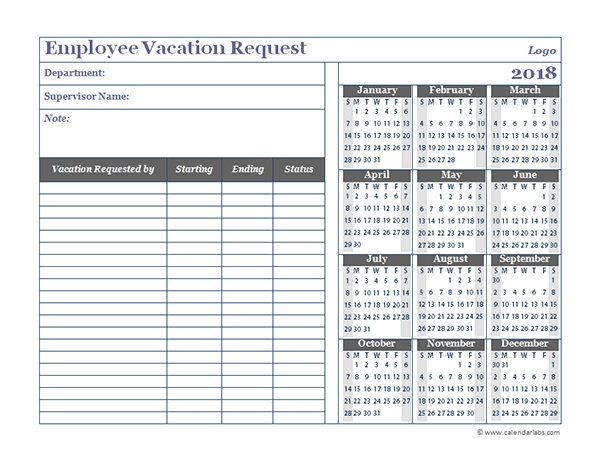 2018 Business Employee Vacation Request Free Printable Templates