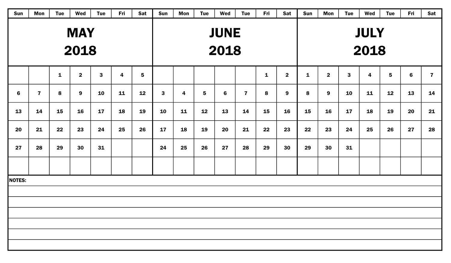 2018 Calendar May June July Template Free Printable 3 Month Amazing3abry