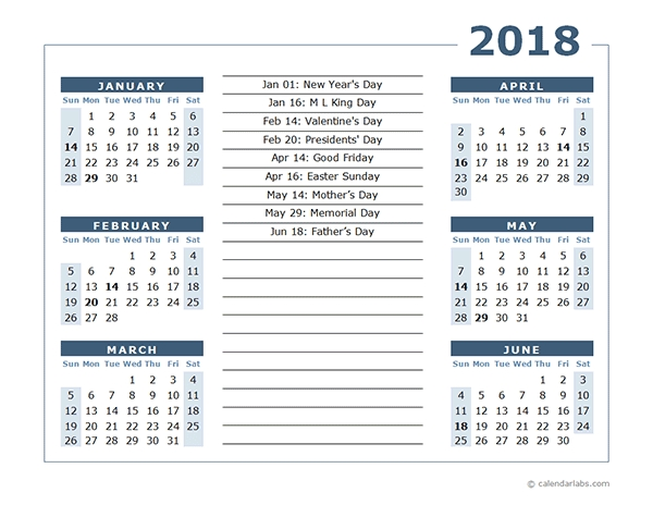 2018 Calendar Template 6 Months Per Page Free Printable Templates