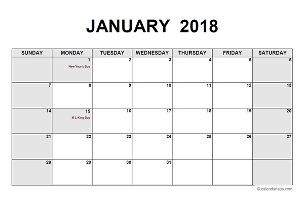 2018 Monthly Calendar Pdf Free Printable Templates