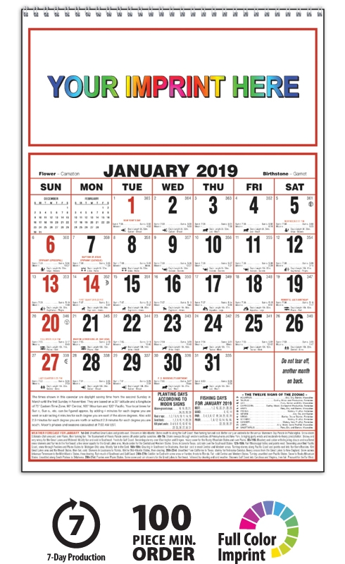 2019 Almanac Calendarlarge Spiral 11 X 17 Imprinted Almanac